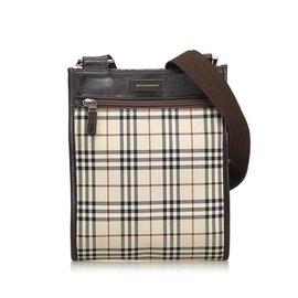 1f9655fa6e Burberry-Sac à bandoulière en toile enduite carreaux-Marron,Multicolore,Beige  ...