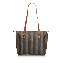 Fendi-Pequin Tote Bag-Marron