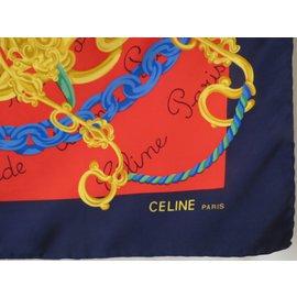 Céline--Sublime luxury silk square signed, Celine Paris-Multiple colors
