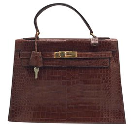 Hermès-kelly crocodile marron-Marron clair