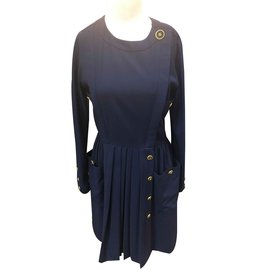 Chanel-Robe vintage-Bleu Marine