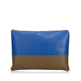 Céline-Bicolor Leather Pouch-Brown,Blue,Khaki