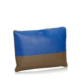 Céline-Pochette en cuir bicolore-Marron,Bleu,Kaki