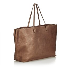 Fendi-Sac cabas en cuir Selleria-Marron,Bronze