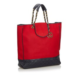 Chanel-Sac cabas en coton-Noir,Rouge