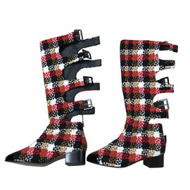 Chanel-Boots-Black,White,Red