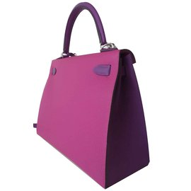 Hermès-SAC HERMES KELLY 28 SELLIER-Rose,Violet
