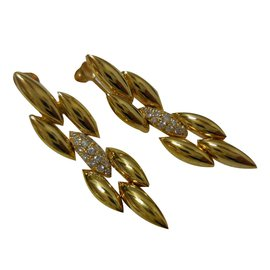 Cartier-Vintage Cartier 18K Yellow Gold Diamond Dangle Earrings-Yellow