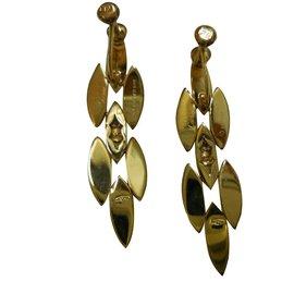 Cartier-Vintage Cartier 18Boucles d'oreilles pendantes en or jaune avec diamants K-Jaune