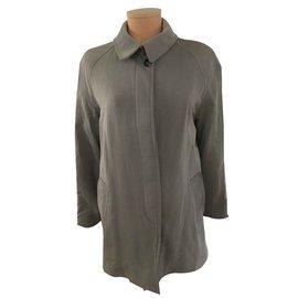 Hermès-Manteaux, Vêtements d'extérieur-Gris