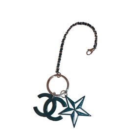 Chanel-Bijou de sac porte clé chanel-Noir,Argenté