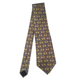 Lanvin-Très belle cravate LANVIN en soie imprimée couleur Bleu/Doré aux motifs d'oiseaux, état neuf !-Bleu,Doré
