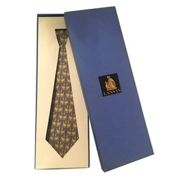 Lanvin-Very nice LANVIN tie made of silk printed in blue / gold color with bird motifs, new condition!-Blue,Golden