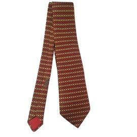 Hermès-Superbe cravate HERMES en soie imprimée couleur Rouge/Noir/Or aux motifs géométriques, état neuf !-Noir,Rouge,Doré