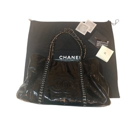 Chanel-Grand sac tri compartiment chanel-Noir,Métallisé
