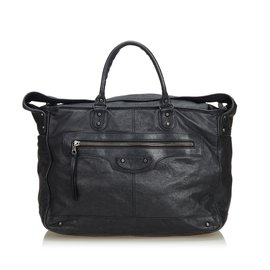 Balenciaga-Leather Classic Bridge Shoulder Bag-Black
