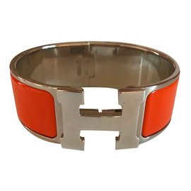 Hermès-Bracelet Clic Clac H PM Orange et Palladium-Orange