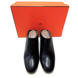 Hermès-Hermes Black slip on wedge mules shoes-Black