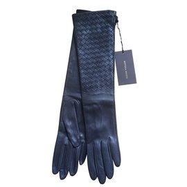 Bottega Veneta-Longs gants tissés, intrecciato-Gris
