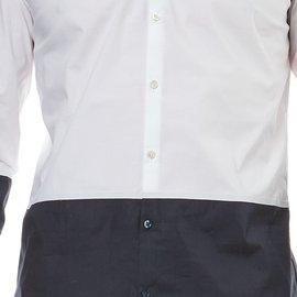 Karl Lagerfeld-CHEMISE LAGERFELD HOMME BLANCHE ET BLEUE-Blanc,Bleu foncé