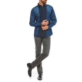 Karl Lagerfeld-LAGERFELD MEN'S JEANS STYLE SHIRT-Blue