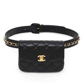 Chanel-TIMELESS CLASSIC CLUTCH ON BELT NEW BLACK-Noir