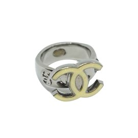 Chanel-Chanel silver metal ring CC-Silvery