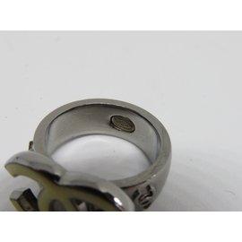 Chanel-Bague Chanel métal argenté CC-Argenté