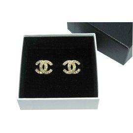 Chanel-Clips d'oreille Chanel en métal doré et strass-Doré