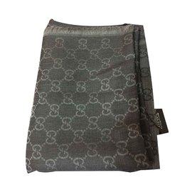 Gucci-Foulard monogramme noir et gris-Noir