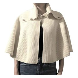 Chanel-Cape en tricot de laine crème Chanel FR34-Crème