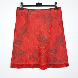 Hugo Boss-Mini-jupe Roses Rouges Hugo Boss Taille M 38DE (40 FR)-Rouge