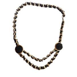 Autre Marque-Ceinture chaîne / dorée et noire-Noir,Doré
