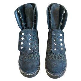 Chanel-Chanel tweed boots-Khaki
