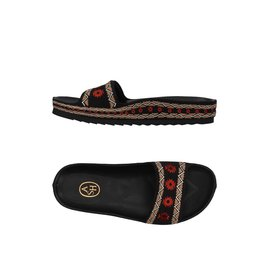 Ash-Embroidered mules-Black