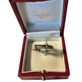 Cartier-Bague Cartier Vintage (1980) en Or jaune 18K/750 et Acier **Collector**-Doré