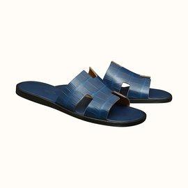 Hermès-IZMIR SANDAL (ALLIGATOR) BLEU DE MALTE N.43-Blue
