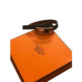 Hermès-Bracelet en cuir Hermes Hapi double tour-Marron,Noir