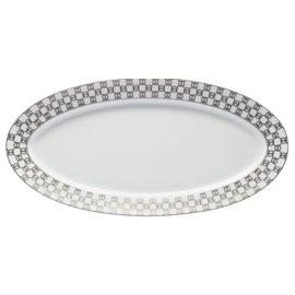 """Hermès-Hermes Fil D'argent Platter 23""""-White,Beige,Grey"""