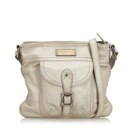 Burberry-Leather Shoulder Bag-White,Cream