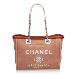 Chanel-Sac cabas Jacquard Deauville-Marron,Blanc,Écru