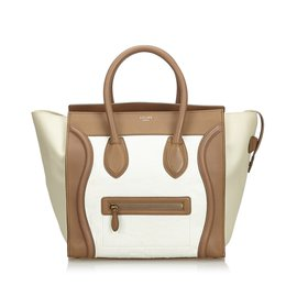Céline-Leather Luggage Tote Bag-Brown,White,Beige