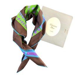 Dior-Seiden Schals-Braun,Pink,Blau,Mehrfarben ,Grün