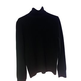 Chanel-CHANEL ROLL-NECK SWEATER 100% WOOL -NEW EVER SERVED-SIZE XS-Black,Navy blue