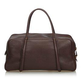 Hermès-Leather Boston Bag-Brown,Dark brown