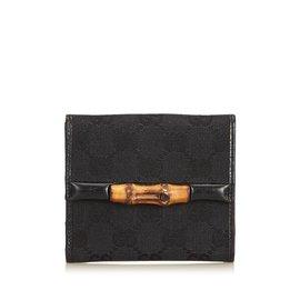 Gucci-Guccissima Bambou Jacquard Petit Portefeuille-Marron,Noir