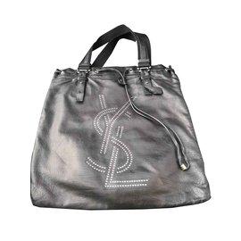 Yves Saint Laurent-Superbe sac cabas Yves Saint Laurent-Noir,Argenté