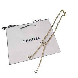 Chanel-Superbe ceinture \ sautoir chanel chaine-Noir,Doré