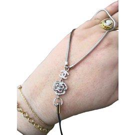 Chanel-Superbe bracelet dragonne Chanel-Noir,Argenté