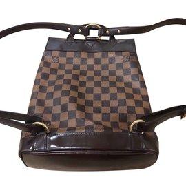 Louis Vuitton-Sac à dos imprimé Damier en ébène-Marron